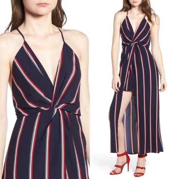 Lush Navy Stripe Print Maxi Dress- Medium